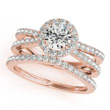 1.63 CTW Certified VS/SI Diamond 2Pc Wedding Set Solitaire Halo 14K Gold - REF-234K5R - 31018