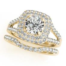 1.54 CTW Certified VS/SI Diamond 2Pc Wedding Set Solitaire Halo 14K Gold - REF-176H2W - 30905