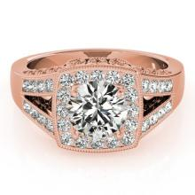 1.65 CTW Certified VS/SI Diamond Solitaire Halo Ring 18K Rose Gold - REF-608R9K - 27028