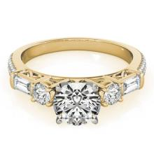 2.5 CTW Certified VS/SI Diamond Pave Solitaire Ring 18K Yellow Gold - REF-650R2K - 28112