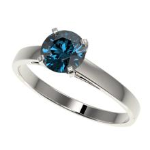 1.05 CTW Certified Intense Blue Si Diamond Solitaire Engagement Ring Gold - REF-140N4A - 36518