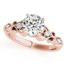 0.65 CTW Certified VS/SI Diamond Solitaire Antique Ring 18K Rose Gold - REF-121H6W - 27418