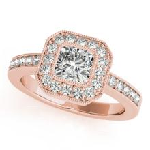 0.8 CTW Certified VS/SI Cushion Diamond Solitaire Halo Ring 18K Gold - REF-161F3M - 27175