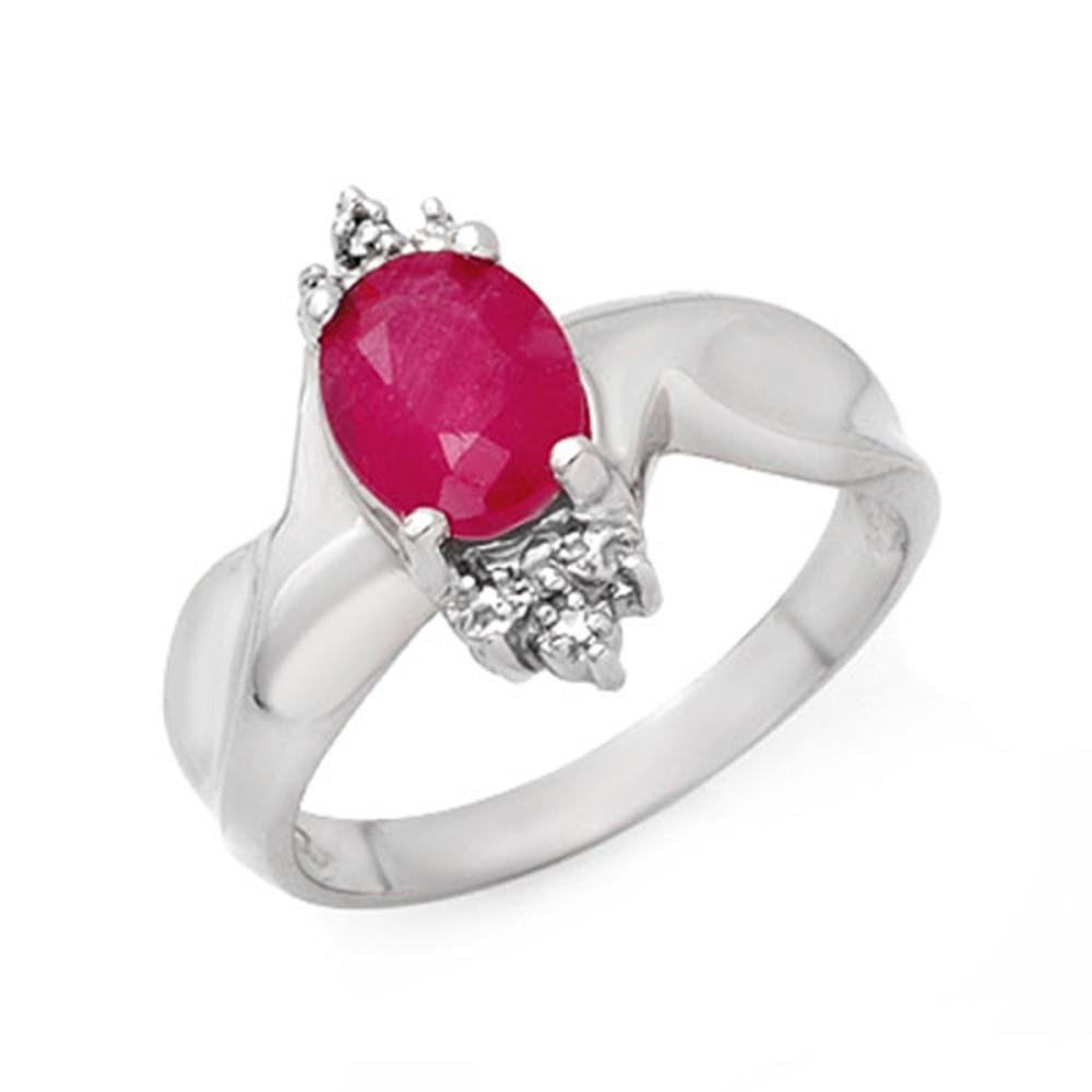 1.83 ctw Ruby & Diamond Ring 18K White Gold - REF-44Y9X - SKU:13930
