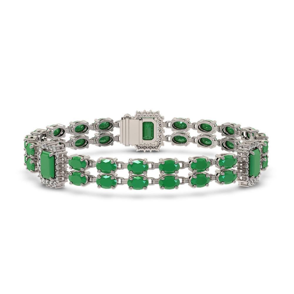19.49 ctw Emerald & Diamond Bracelet 14K White Gold - REF-272F9N - SKU:45023