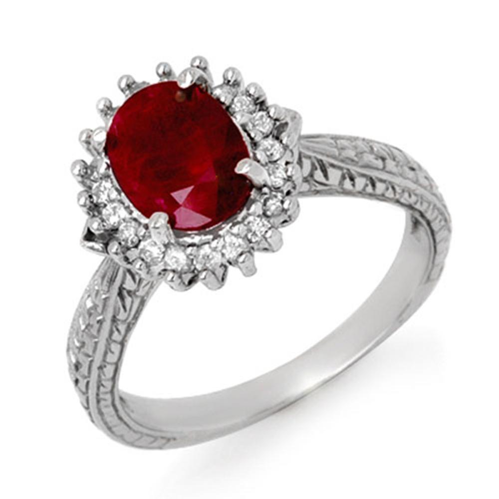 2.75 ctw Ruby & Diamond Ring 10K White Gold - REF-49N3A - SKU:12726