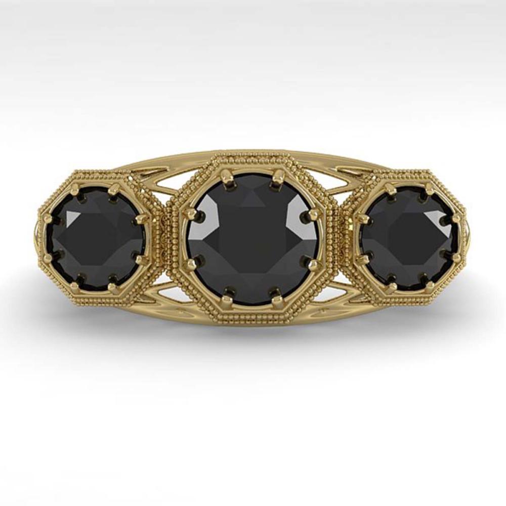 2 ctw Past Present Future Black Diamond Ring 18K Yellow Gold - REF-90F4N - SKU:36076