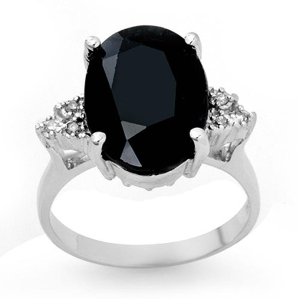 7.76 ctw Blue Sapphire & Diamond Ring 18K White Gold - REF-72K7W - SKU:12977