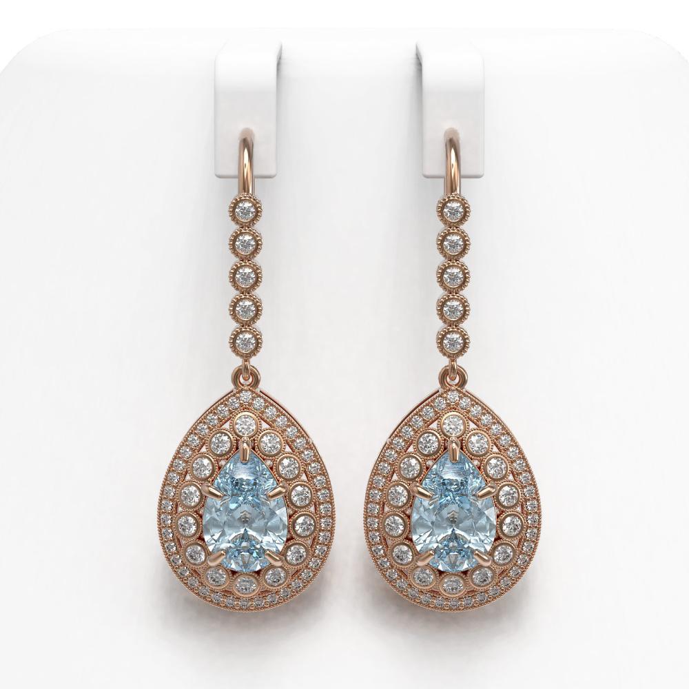 7.56 ctw Aquamarine & Diamond Earrings 14K Rose Gold - REF-310V4Y - SKU:43158