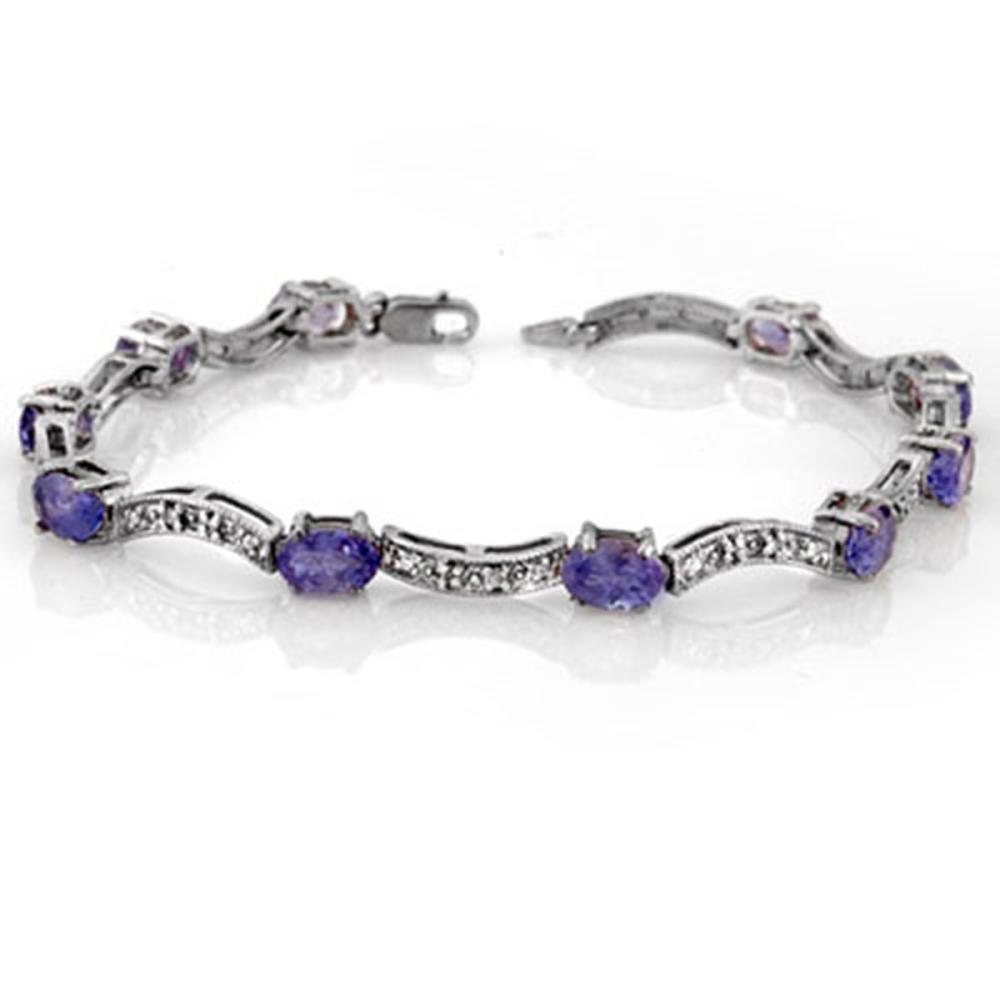 4.25 ctw Tanzanite & Diamond Bracelet 10K White Gold - REF-63X6R - SKU:10372