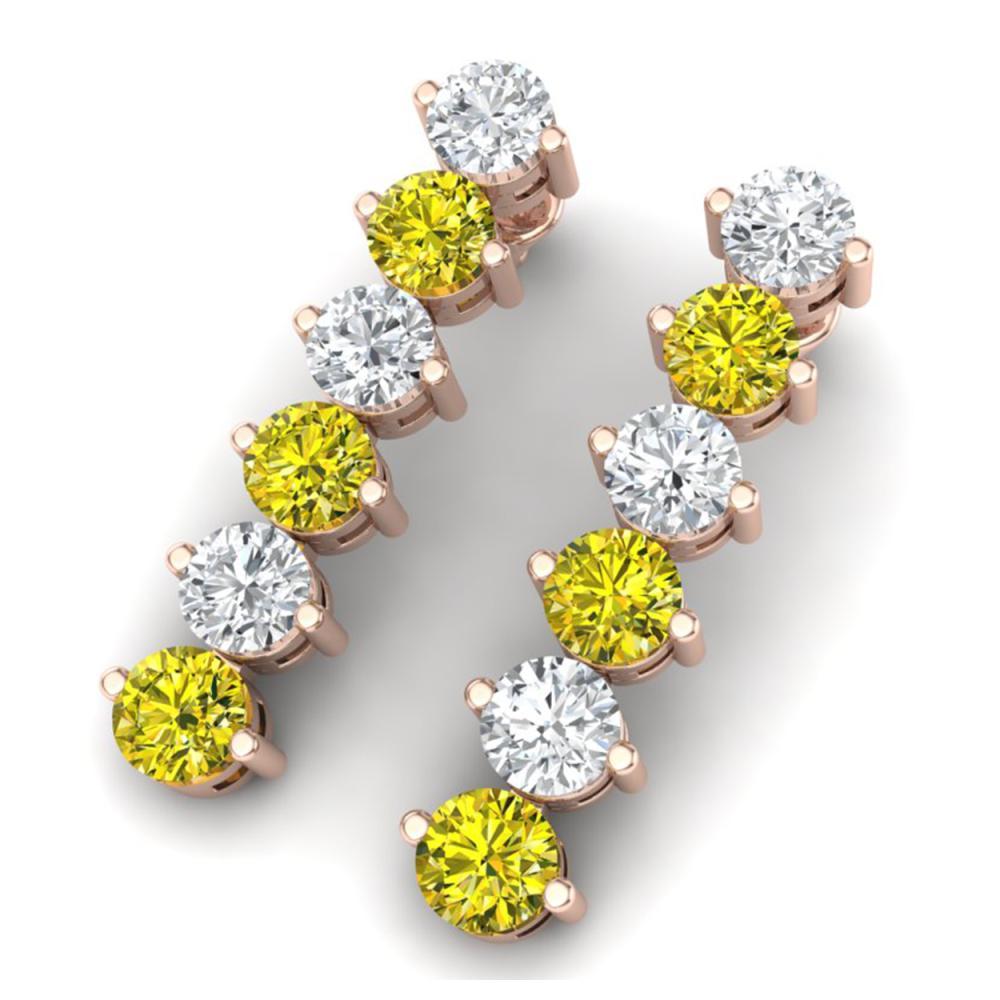 6 ctw SI/I Fancy Yellow Diamond Earrings 18K Rose Gold - REF-690K2W - SKU:40216