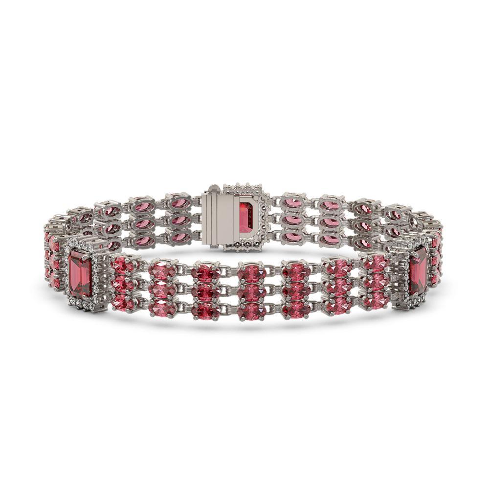 26.64 ctw Tourmaline & Diamond Bracelet 14K White Gold - REF-403H3M - SKU:45383