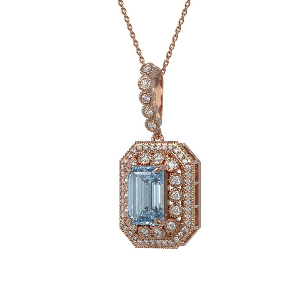 5.66 ctw Aquamarine & Diamond Necklace 14K Rose Gold - REF-166V7Y - SKU:43449