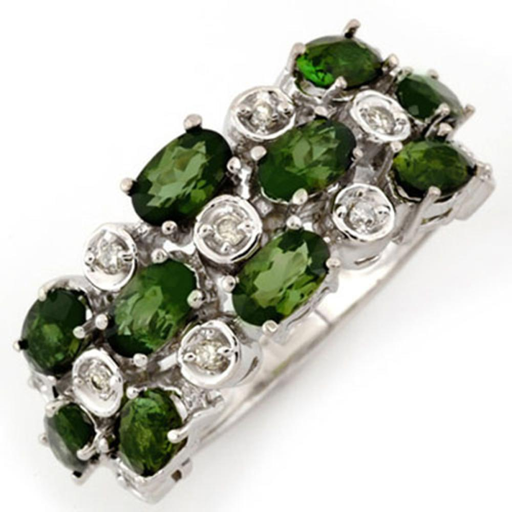 3.20 ctw Green Tourmaline & Diamond Ring 10K White Gold - REF-56W5H - SKU:10964