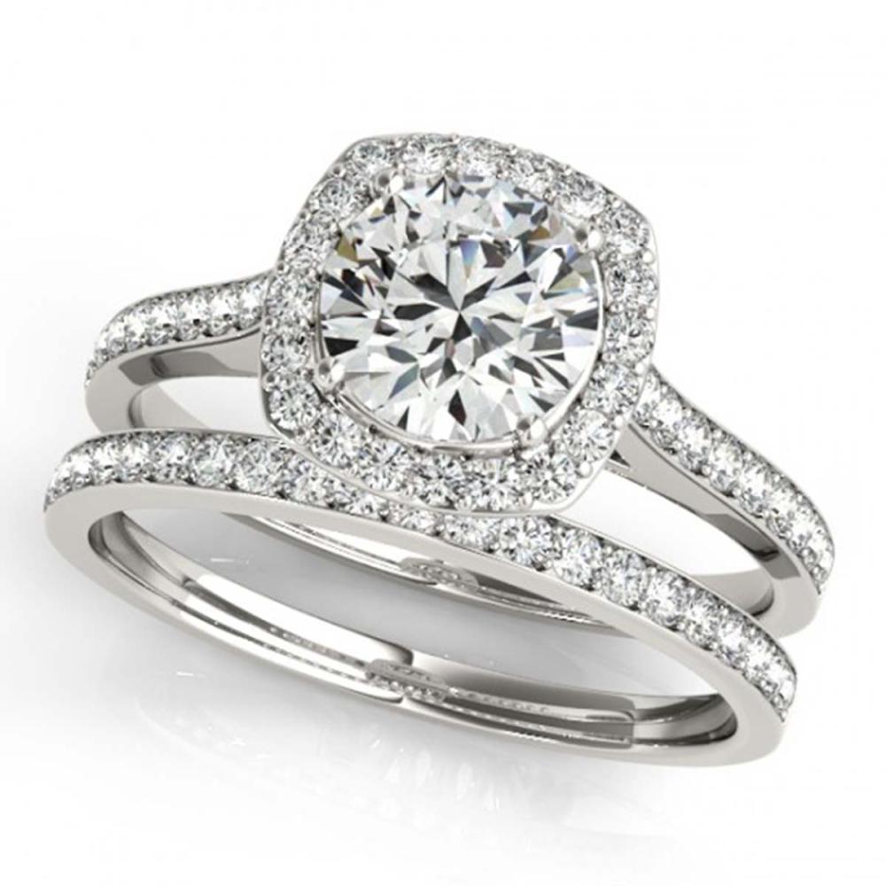 1.67 ctw VS/SI Diamond 2pc Wedding Set Halo 14K White Gold - REF-290F5N - SKU:31214
