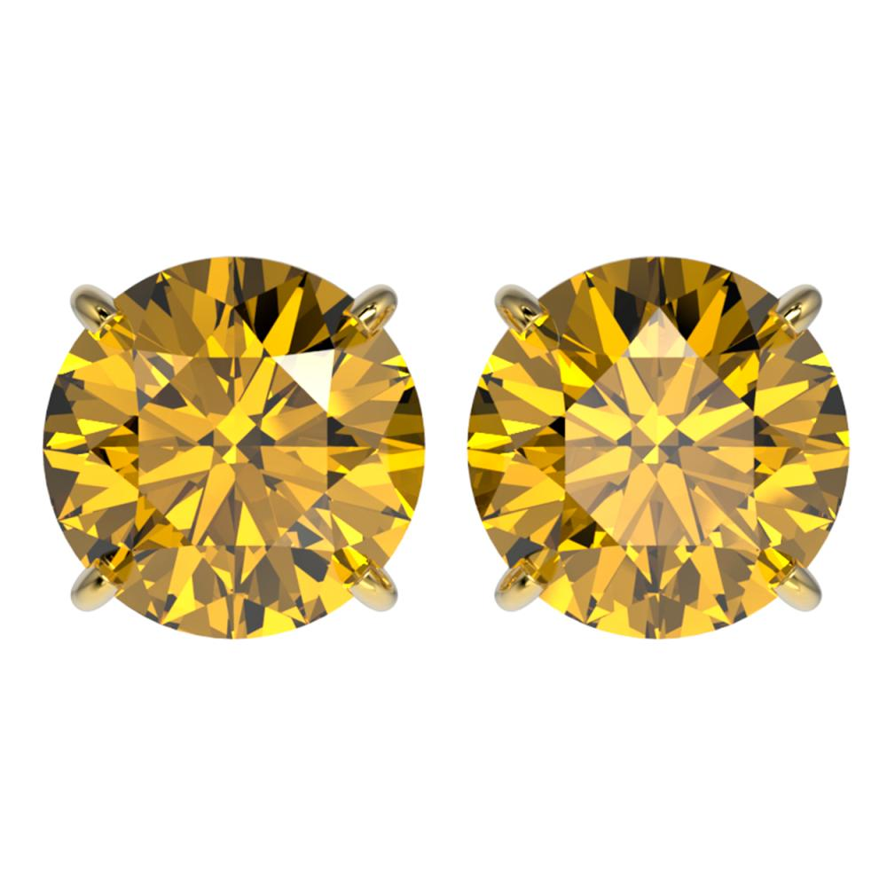 4 ctw Intense Yellow Diamond Stud Earrings 10K Yellow Gold - REF-1095H2M - SKU:33141