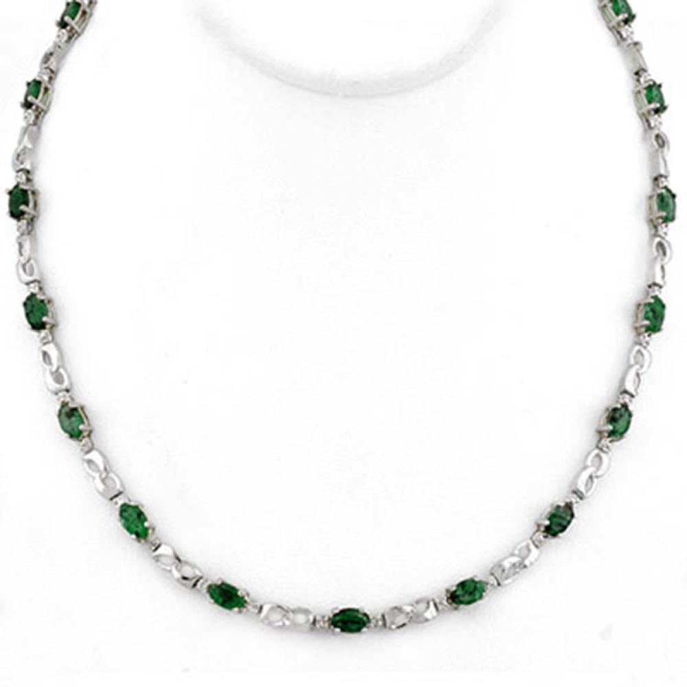 7.02 ctw Emerald & Diamond Necklace 18K White Gold - REF-163R6K - SKU:11325