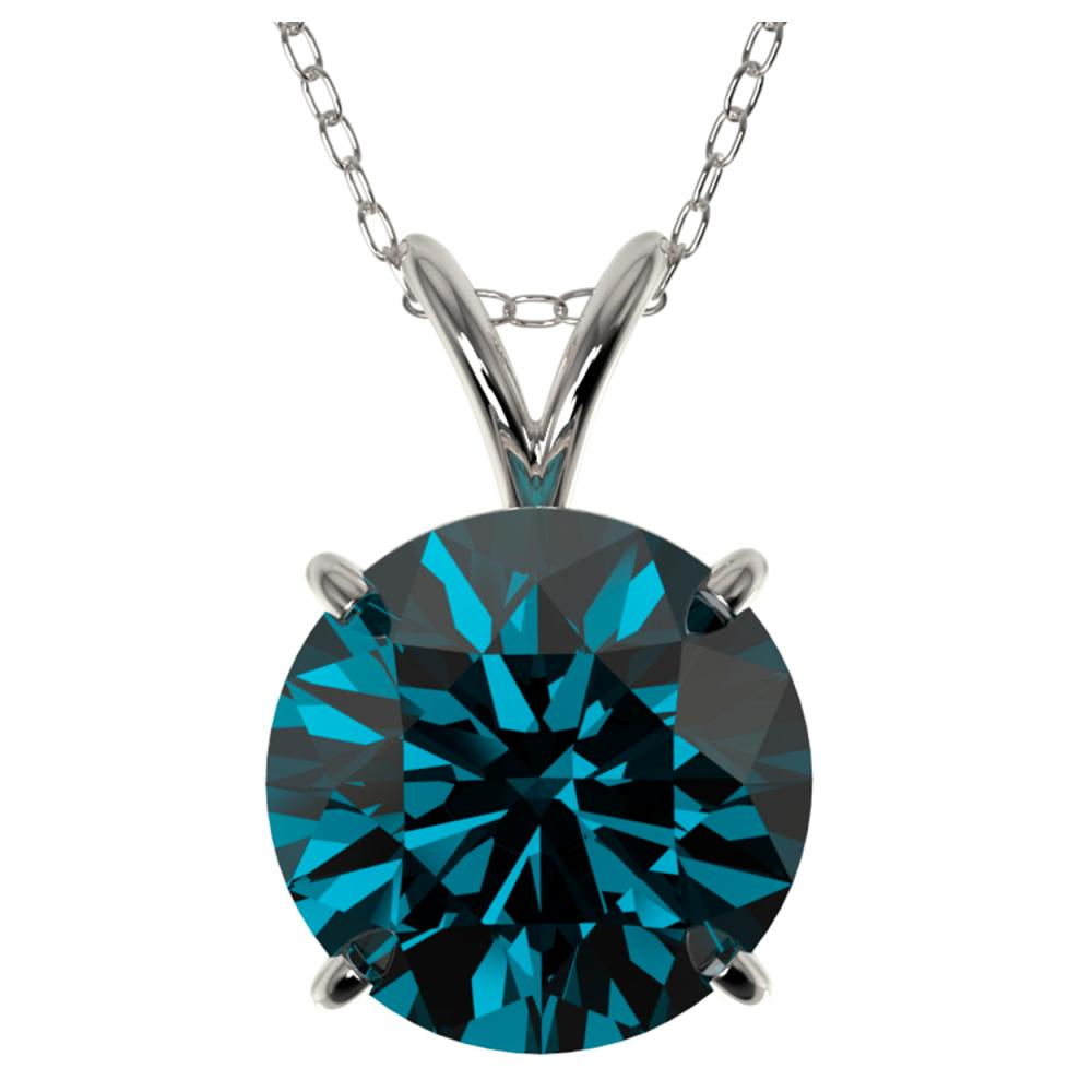 2.50 ctw Intense Blue Diamond Necklace 10K White Gold - REF-575H7M - SKU:33246