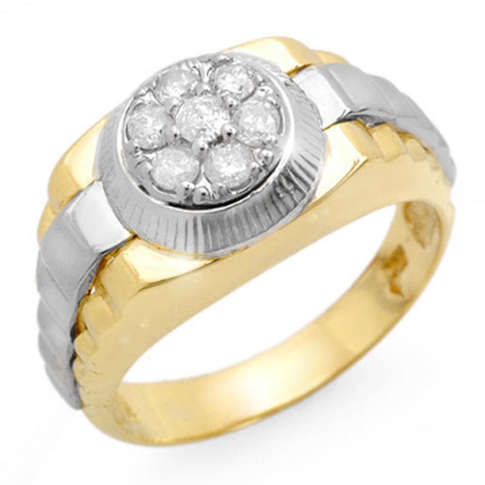 0.50 ctw VS/SI Diamond Men's Ring 18K 2-Tone Gold - REF-118H2M - SKU:14425