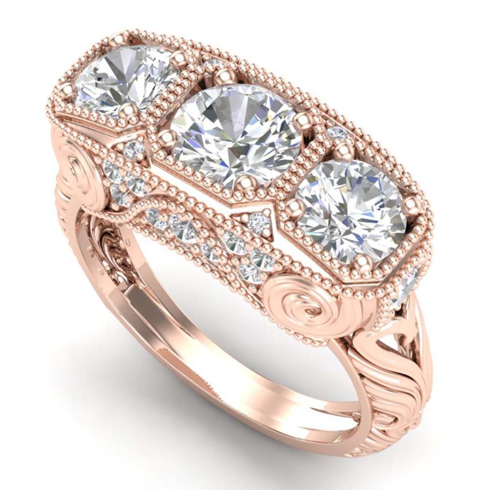 2.51 ctw VS/SI Diamond Solitaire Art Deco 3 Stone Ring 18K Rose Gold - REF-436V4Y - SKU:36990