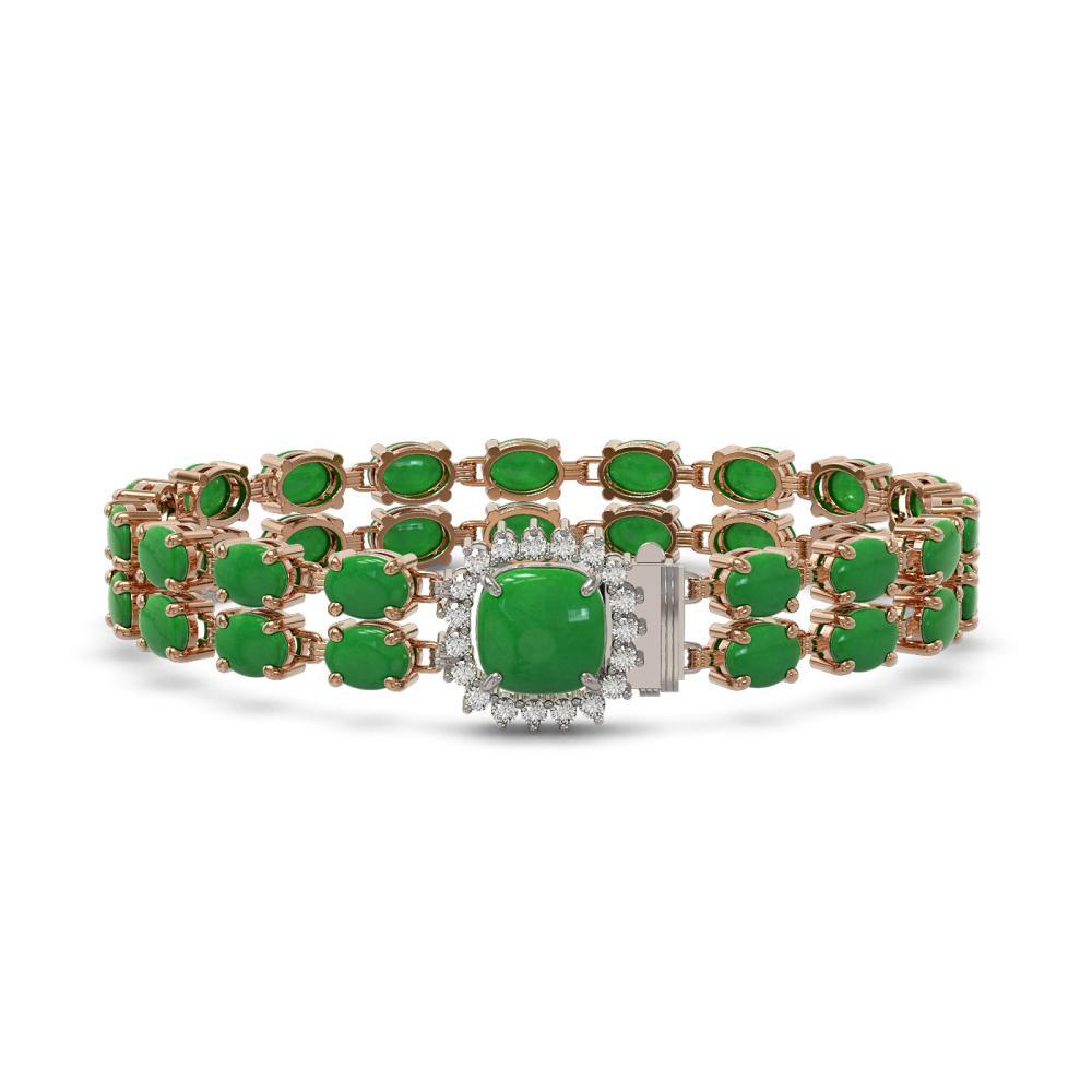 12.93 ctw Jade & Diamond Bracelet 14K Rose Gold - REF-158Y2X - SKU:45648