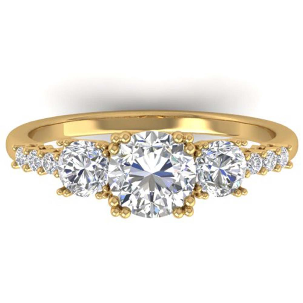 1.50 ctw VS/SI Diamond Art Deco 3 Stone Ring 14K Yellow Gold - REF-215W3H - SKU:30461