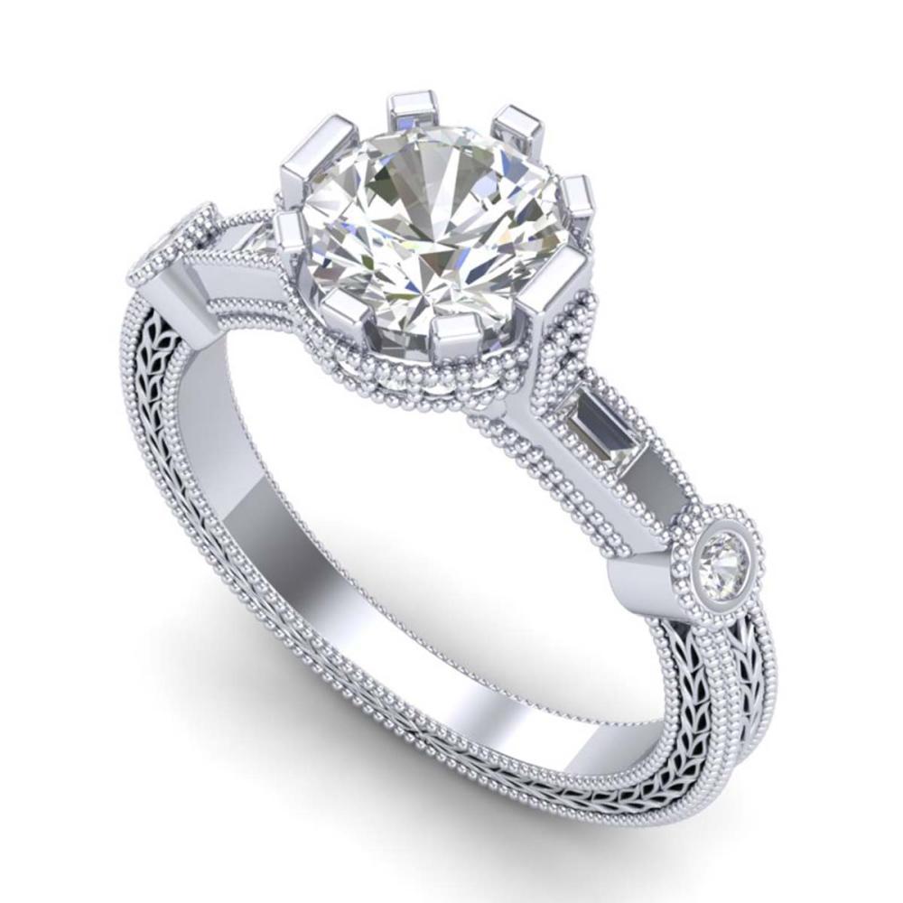 1.71 ctw VS/SI Diamond Art Deco Ring 18K White Gold - REF-536V4Y - SKU:37061