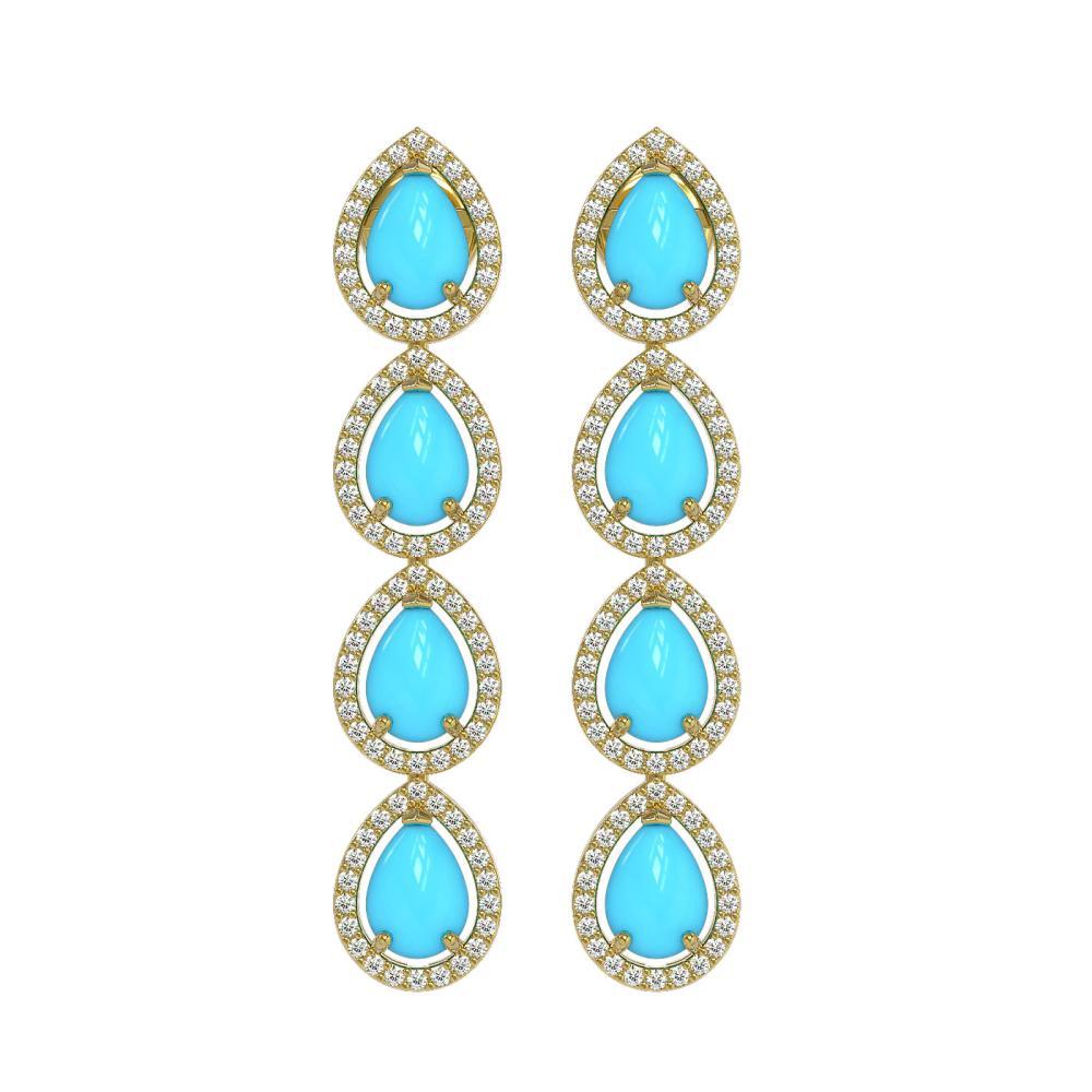 6.20 ctw Turquoise & Diamond Halo Earrings 10K Yellow Gold - REF-134R9K - SKU:46053