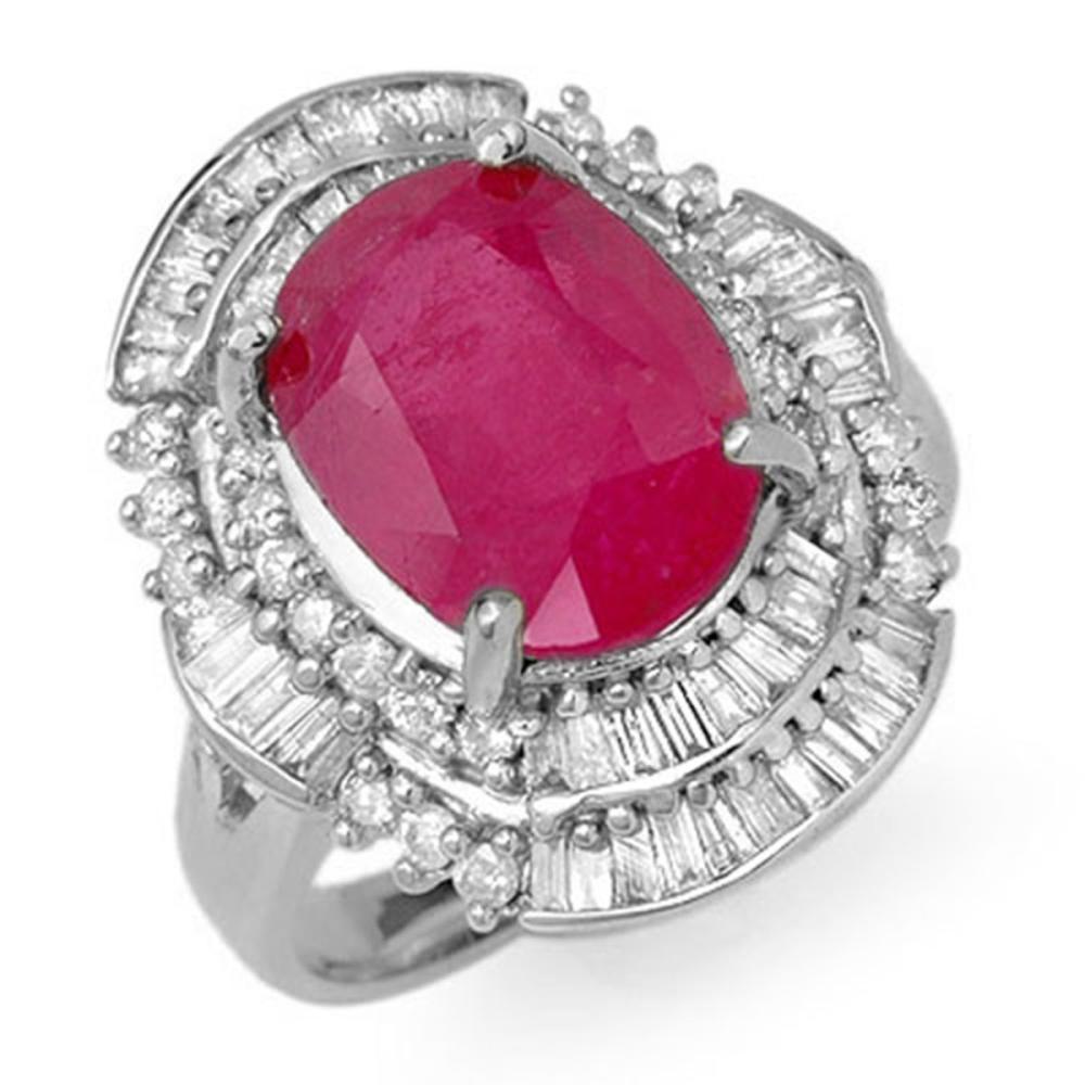 5.75 ctw Ruby & Diamond Ring 18K White Gold - REF-152H7M - SKU:12902