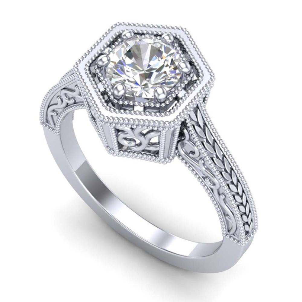 0.77 ctw VS/SI Diamond Art Deco Ring 18K White Gold - REF-218K2W - SKU:36896