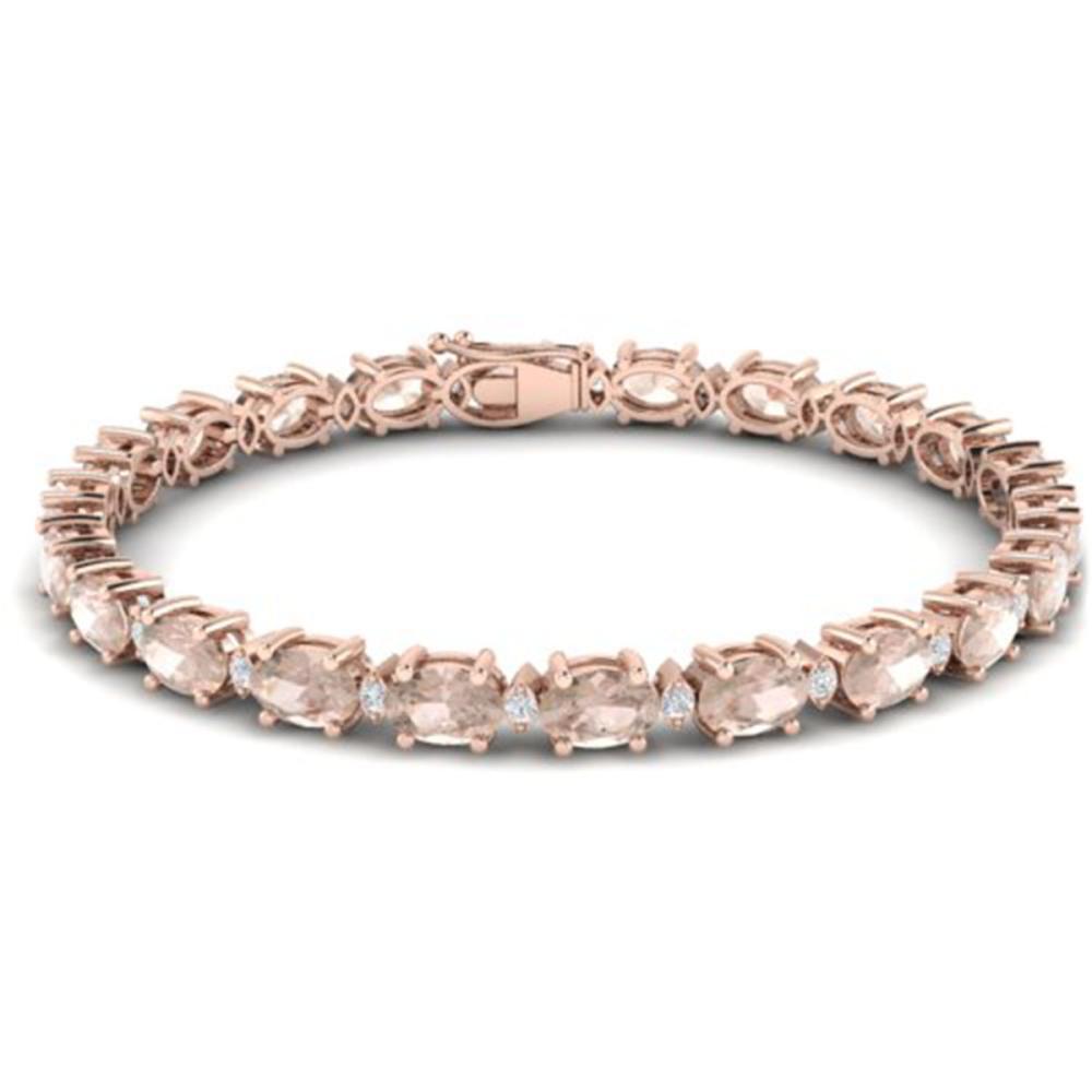 18.75 ctw Morganite & VS/SI Diamond Eternity Bracelet 10K Rose Gold - REF-231N6A - SKU:29372