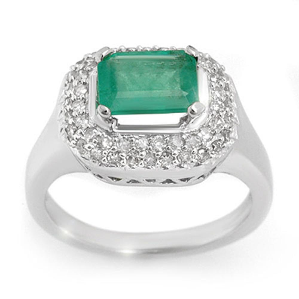 1.90 ctw Emerald & Diamond Ring 14K White Gold - REF-76H4M - SKU:10620