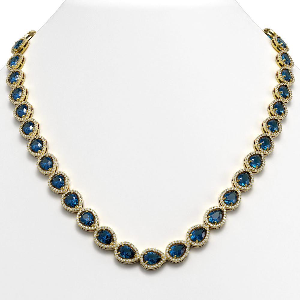 35.13 ctw London Topaz & Diamond Halo Necklace 10K Yellow Gold - REF-602H7M - SKU:41080