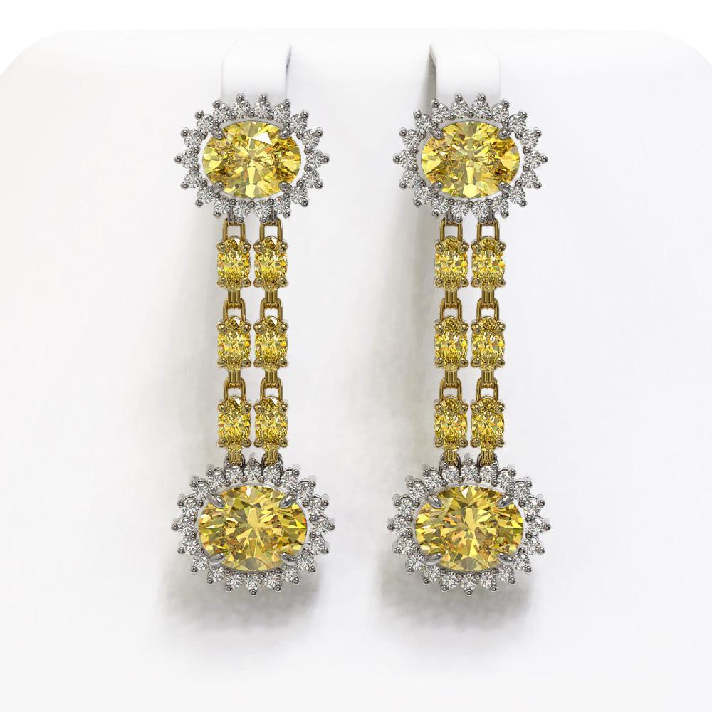 10.58 ctw Citrine & Diamond Earrings 14K Yellow Gold - REF-174K5W - SKU:44497