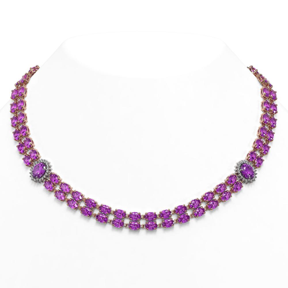 55.03 ctw Amethyst & Diamond Necklace 14K Rose Gold - REF-443Y6X - SKU:44379