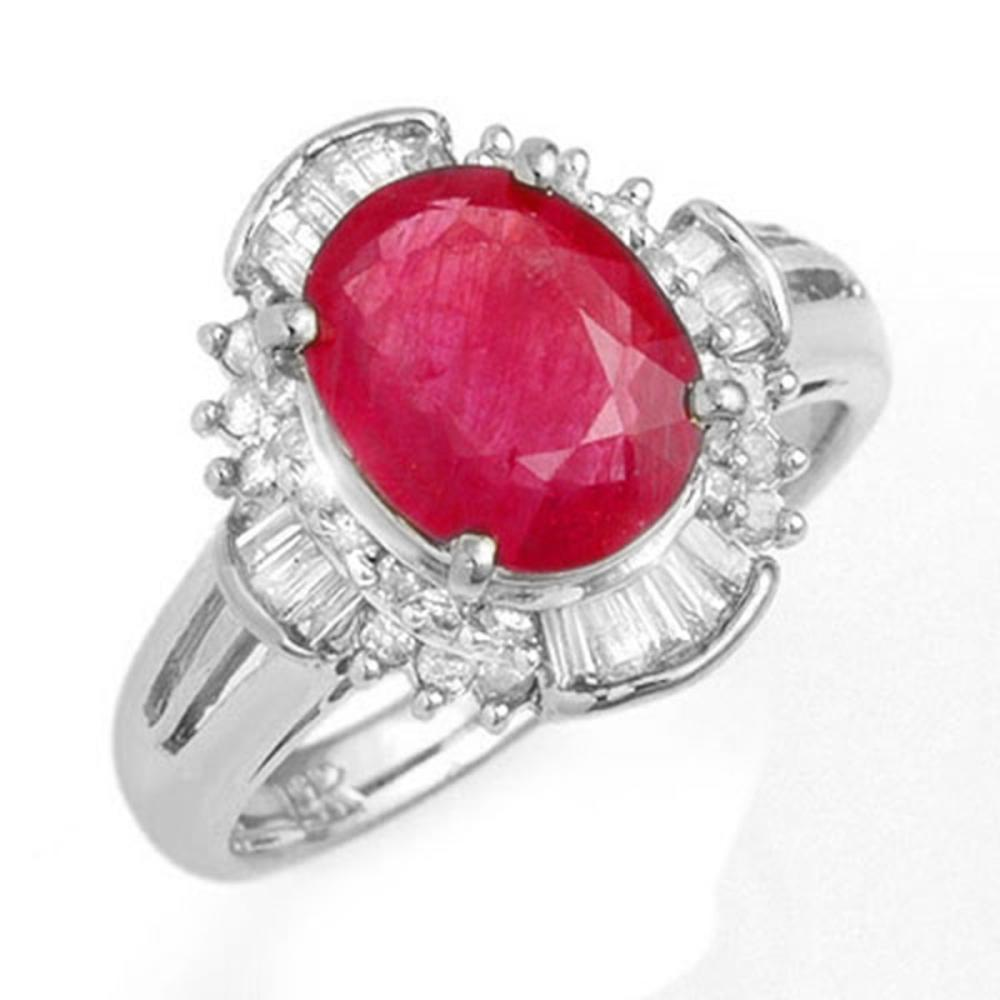 3.83 ctw Ruby & Diamond Ring 18K White Gold - REF-96K7W - SKU:13308