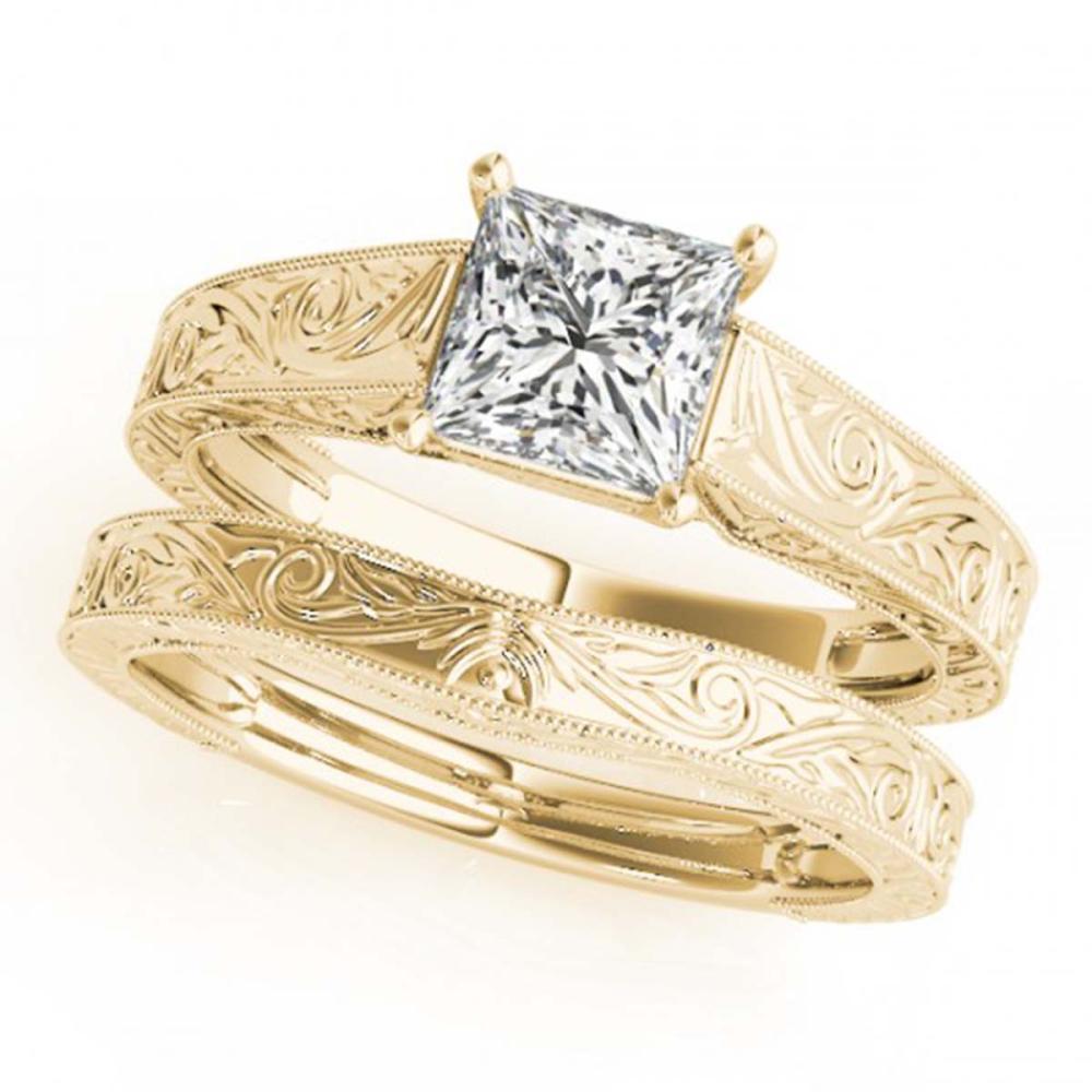 1 ctw VS/SI Princess Diamond 2pc Wedding Set 14K Yellow Gold - REF-316A2V - SKU:32086