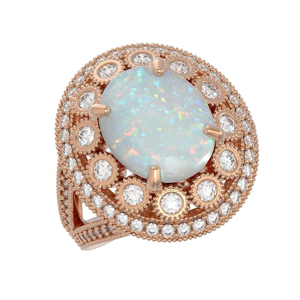 5.28 ctw Opal & Diamond Ring 14K Rose Gold - REF-191Y3X - SKU:43755