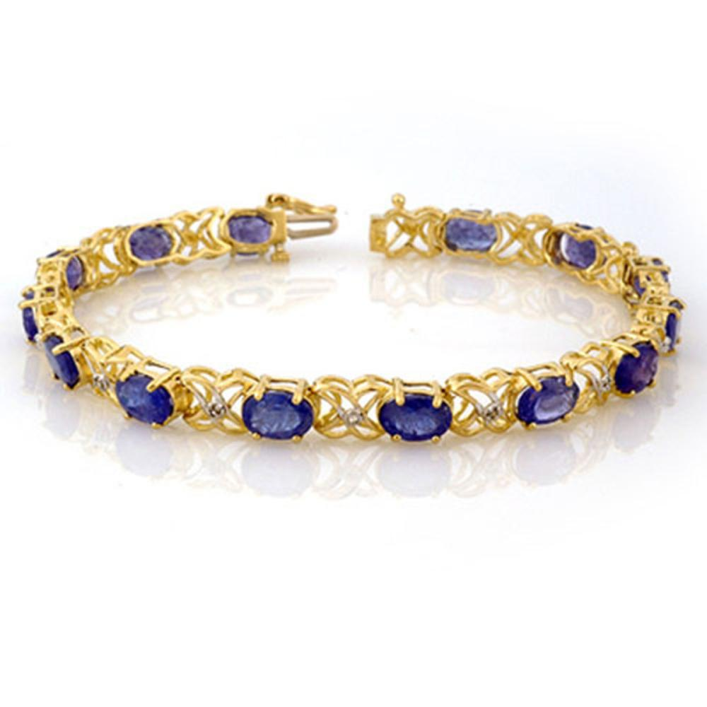 12.05 ctw Tanzanite & Diamond Bracelet 10K Yellow Gold - REF-118M2F - SKU:10904