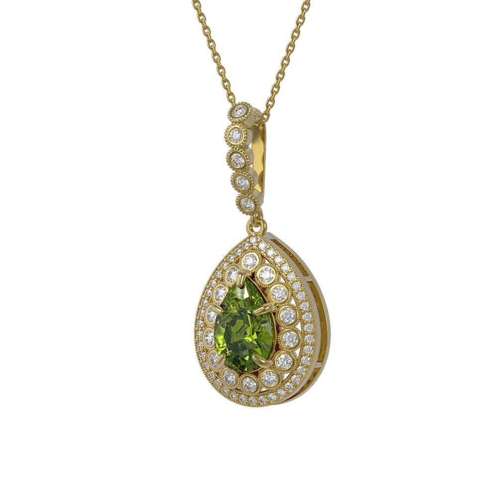 4.97 ctw Tourmaline & Diamond Necklace 14K Yellow Gold - REF-164H2M - SKU:43222