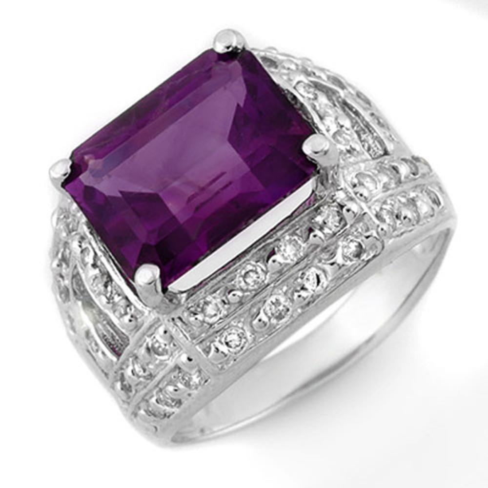 5.0 ctw Amethyst & Diamond Ring 14K White Gold - REF-70F5N - SKU:10264