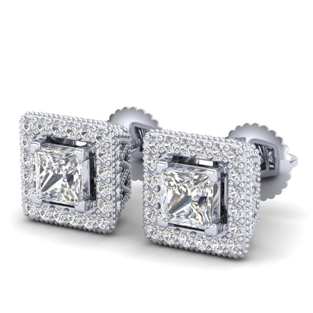2.25 ctw Princess VS/SI Diamond Stud Earrings 18K White Gold - REF-272F7N - SKU:37169