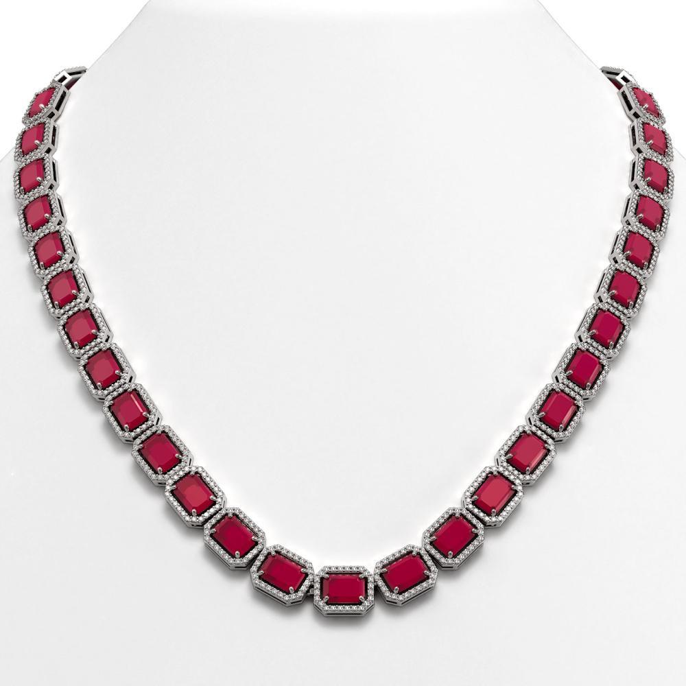 58.59 ctw Ruby & Diamond Halo Necklace 10K White Gold - REF-777H8M - SKU:41333