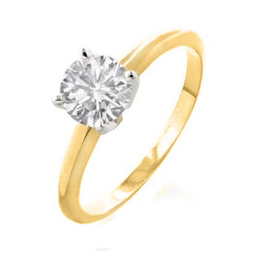 1.0 ctw VS/SI Diamond Solitaire Ring 18K 2-Tone Gold - REF-353M7F - SKU:12130