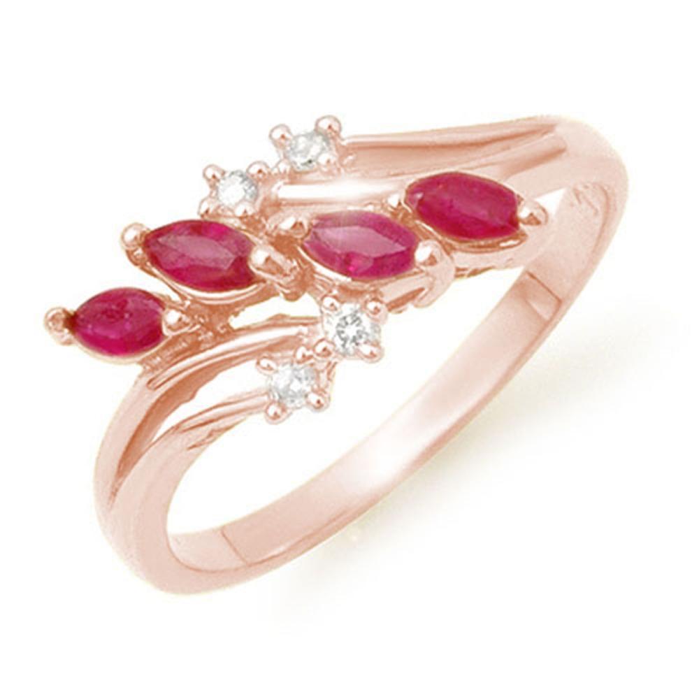 0.40 ctw Ruby & Diamond Ring 18K Rose Gold - REF-38R4K - SKU:13149