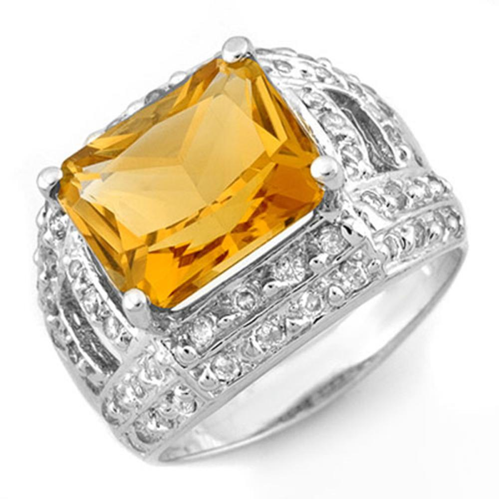 5.0 ctw Citrine & Diamond Ring 14K White Gold - REF-71M8F - SKU:10374