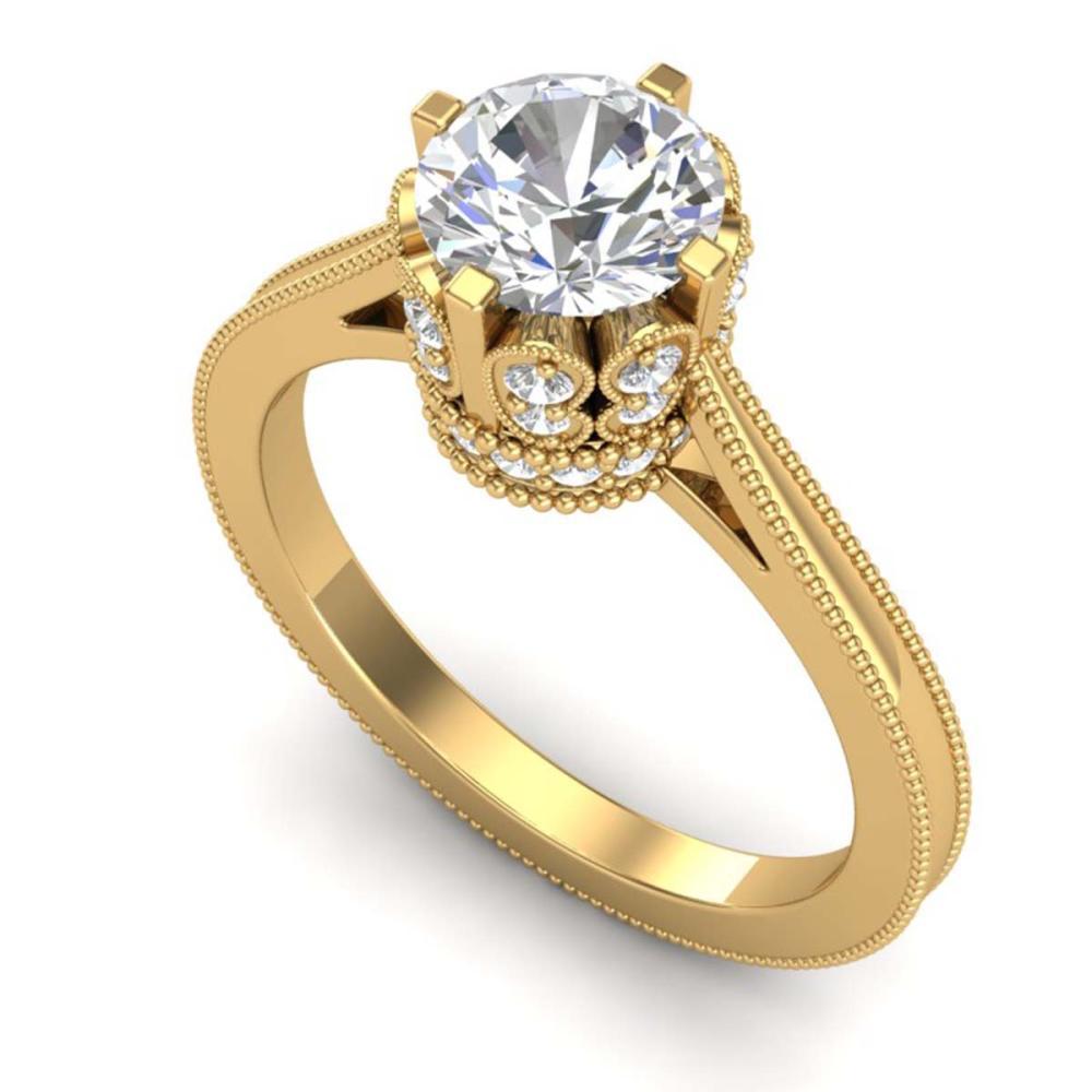 1.50 ctw VS/SI Diamond Art Deco Ring 18K Yellow Gold - REF-399A3V - SKU:36832