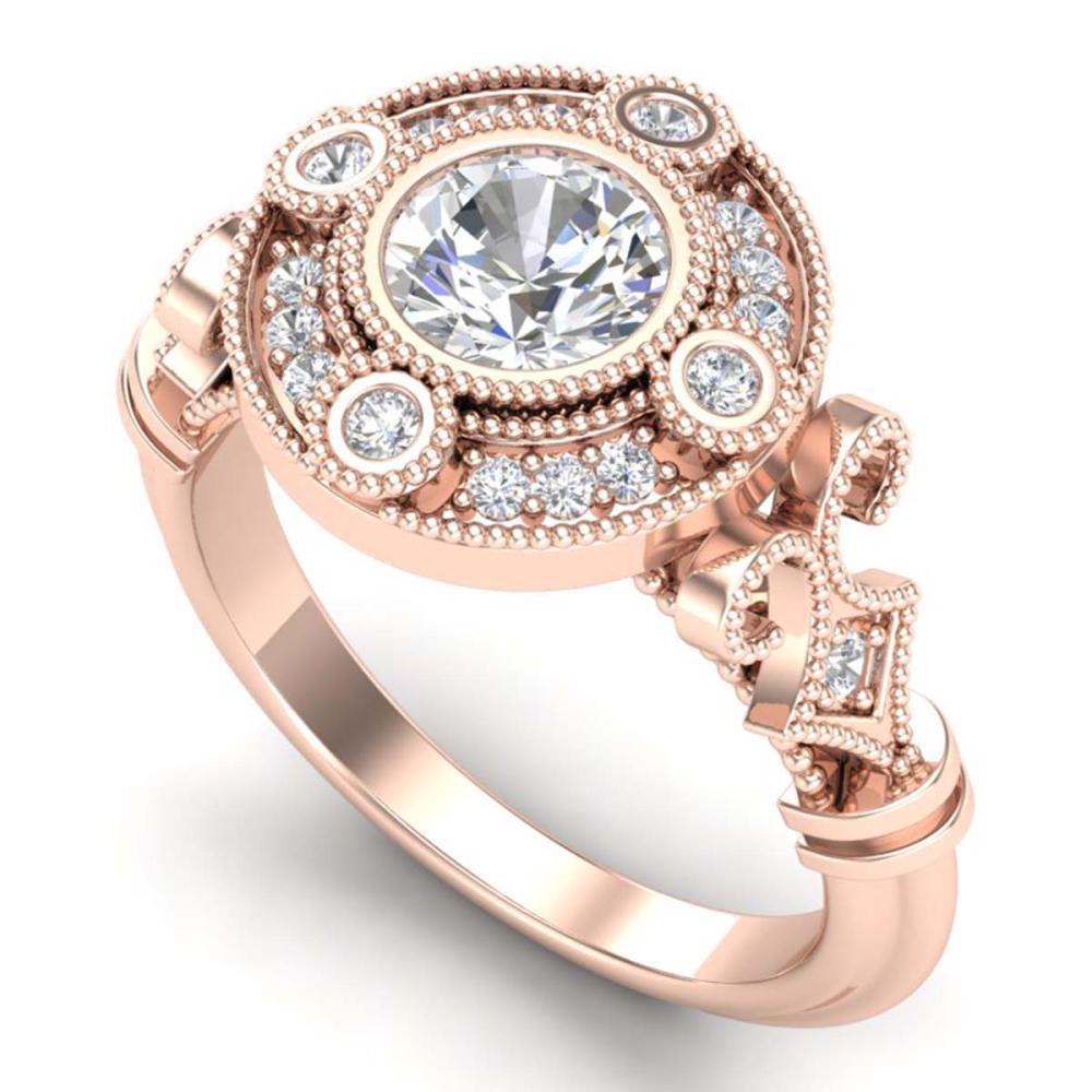 1.12 ctw VS/SI Diamond Solitaire Art Deco Ring 18K Rose Gold - REF-250V2Y - SKU:36978