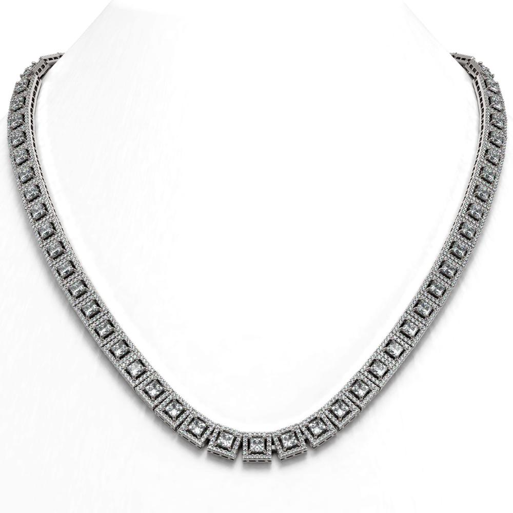 28.67 ctw Princess Diamond Necklace 18K White Gold - REF-2374K3W - SKU:43028