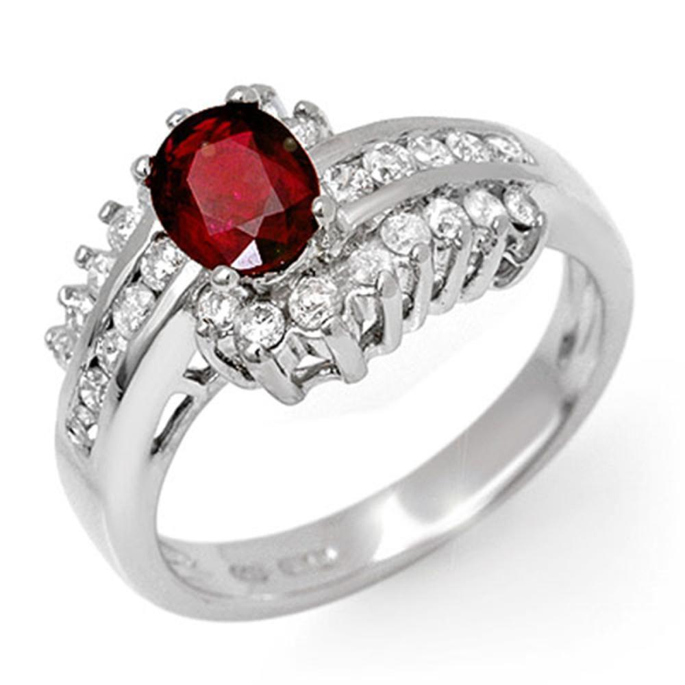 1.60 ctw Ruby & Diamond Ring 18K White Gold - REF-87F6N - SKU:11893